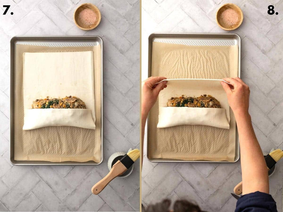 Two food images showing how to roll filling in pastry.