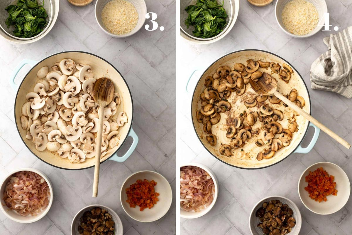 Two food images with mushrooms before and after being cooked in pan.