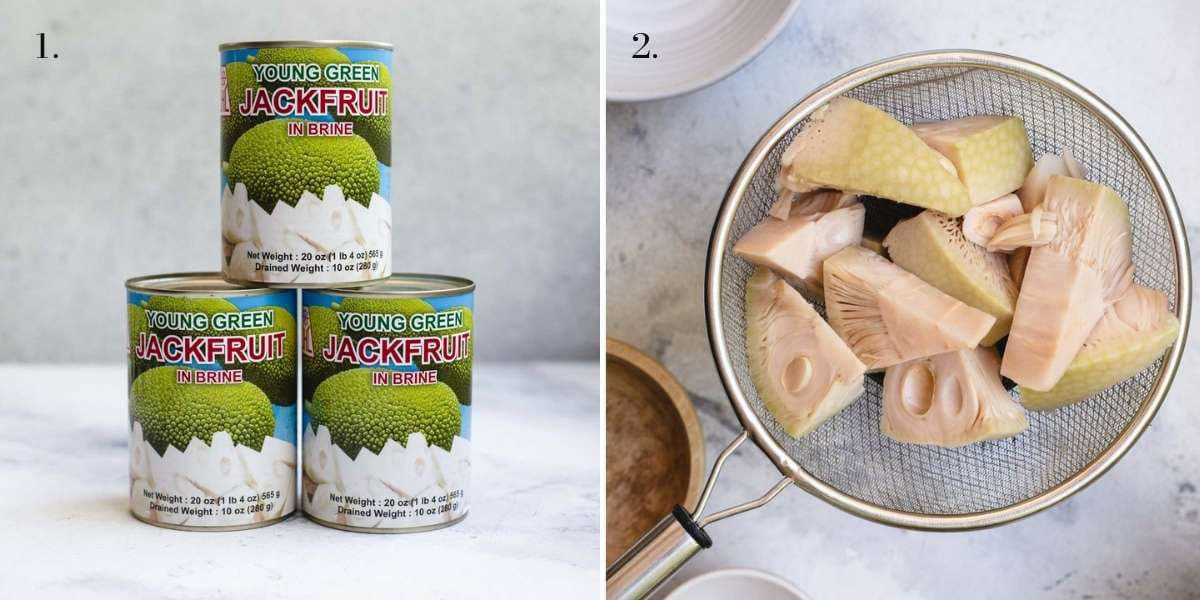Two food images with jackfruit.