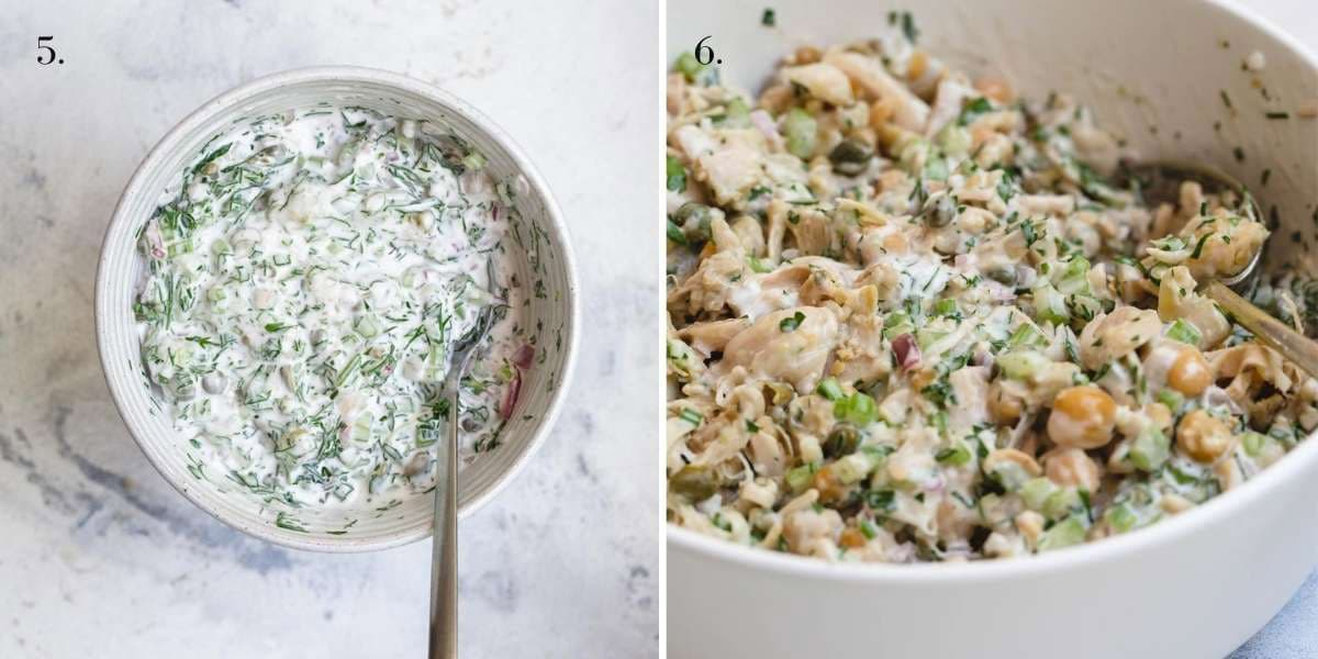 Two food images with chicken salad.