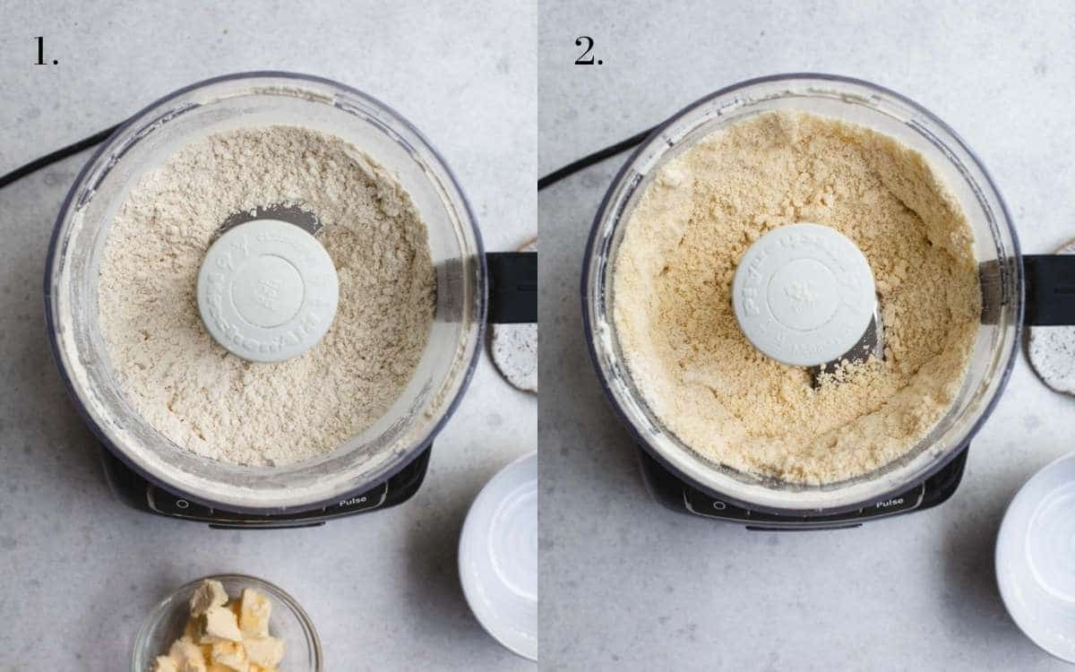 Two food images showing flour, butter and fat being processed in a processor.