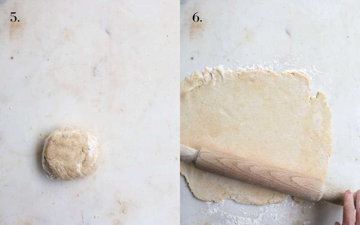 Two food images showing pie dough wrapped and rolled out on a board.