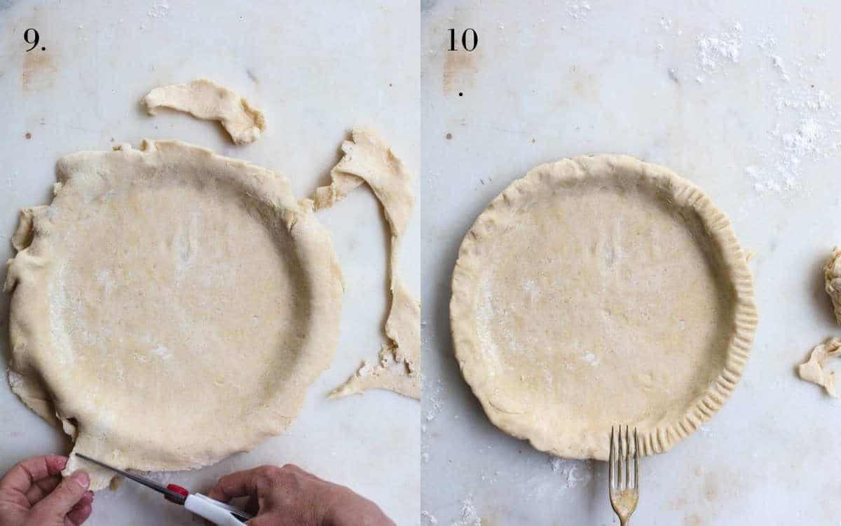 Two images of pie dough being trimmed and the finished crust.