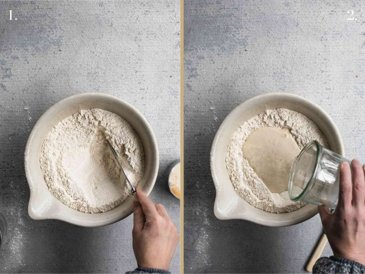 Two food images with flour in a bowl and liquid.