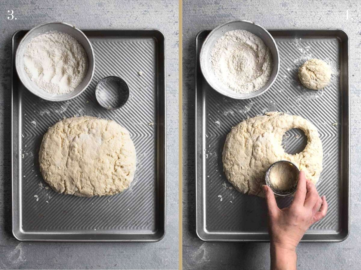 Two food images with flattened dough and dough being cut with cutter.