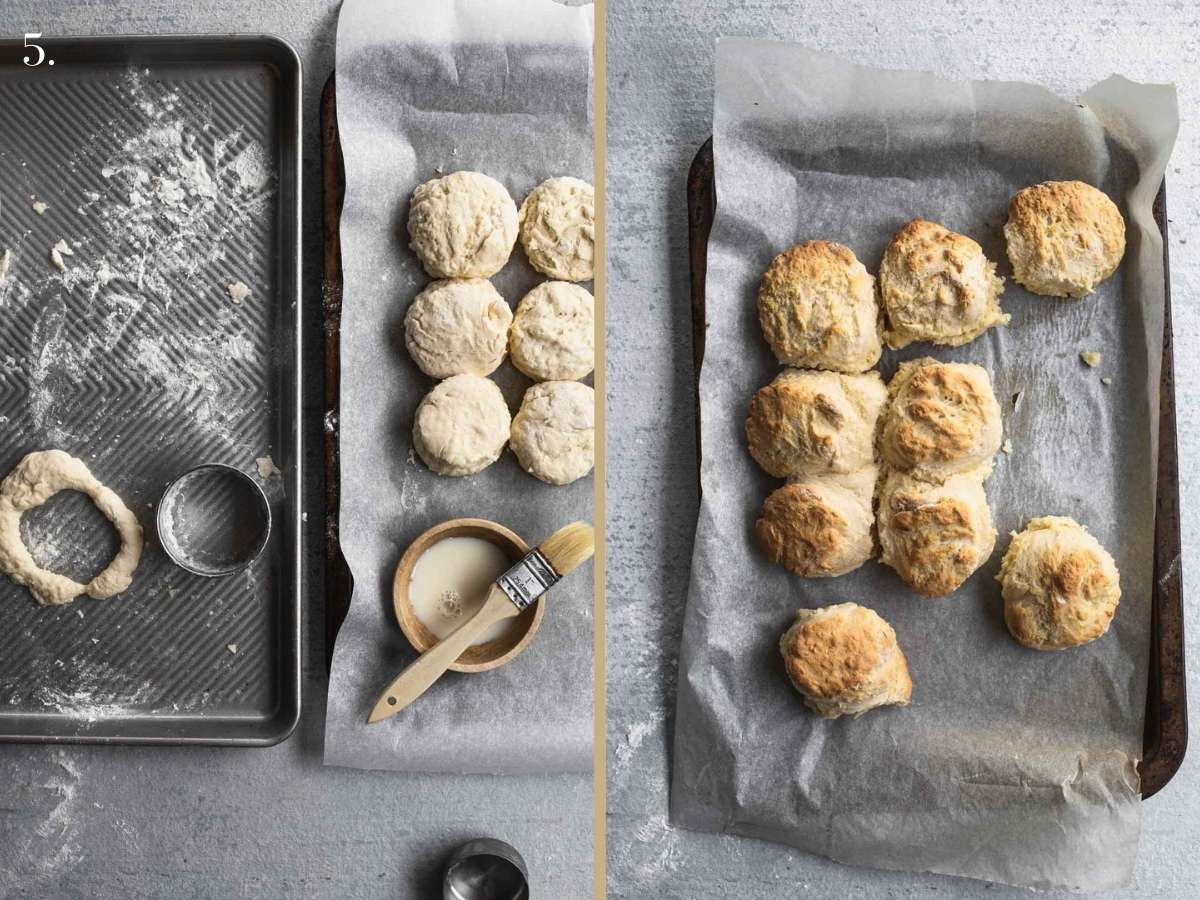 Two food images with scones before and after baking.