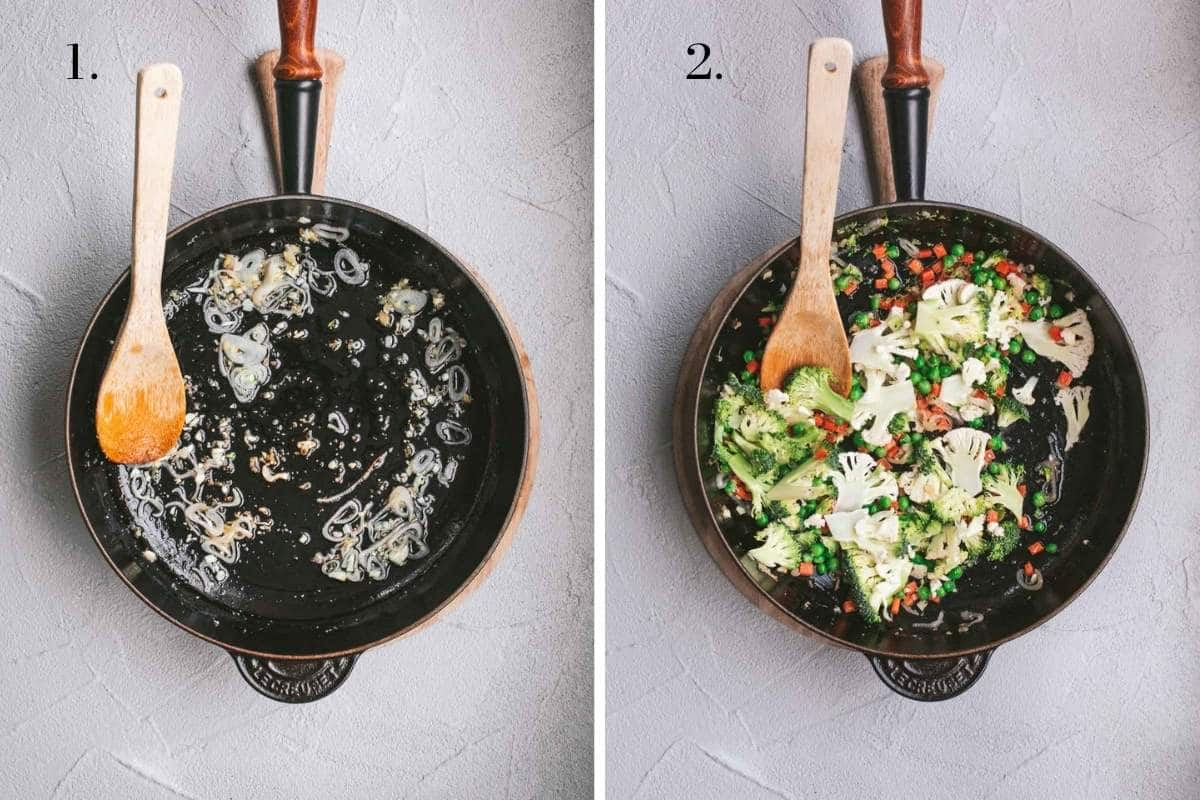 Two food images showing vegetables frying in a pan.