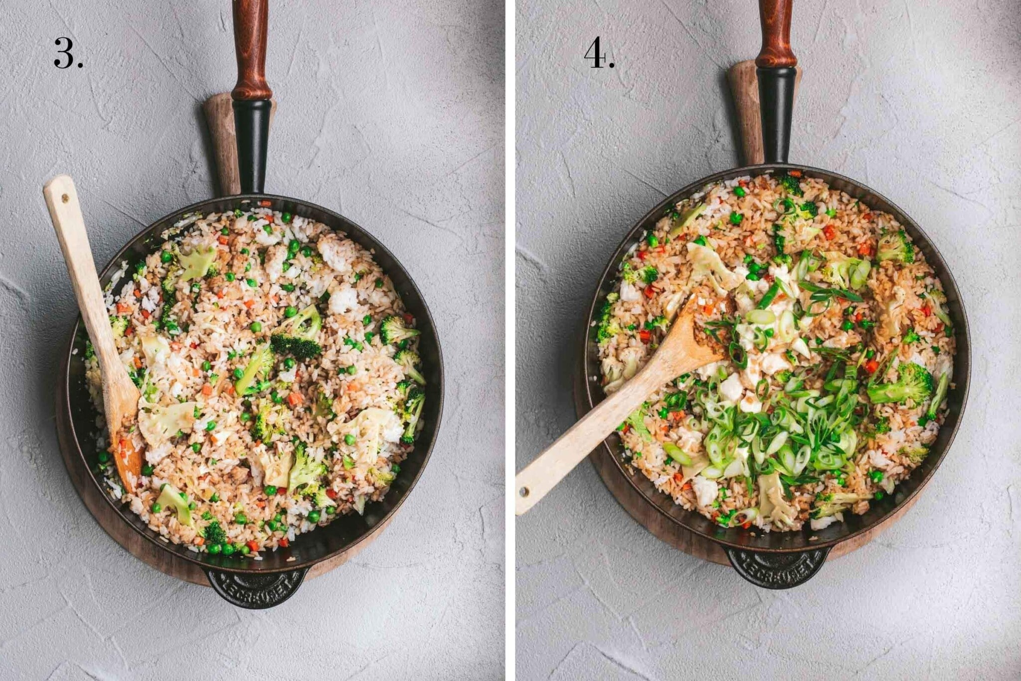 Two food images with fried rice cooking in a pan.