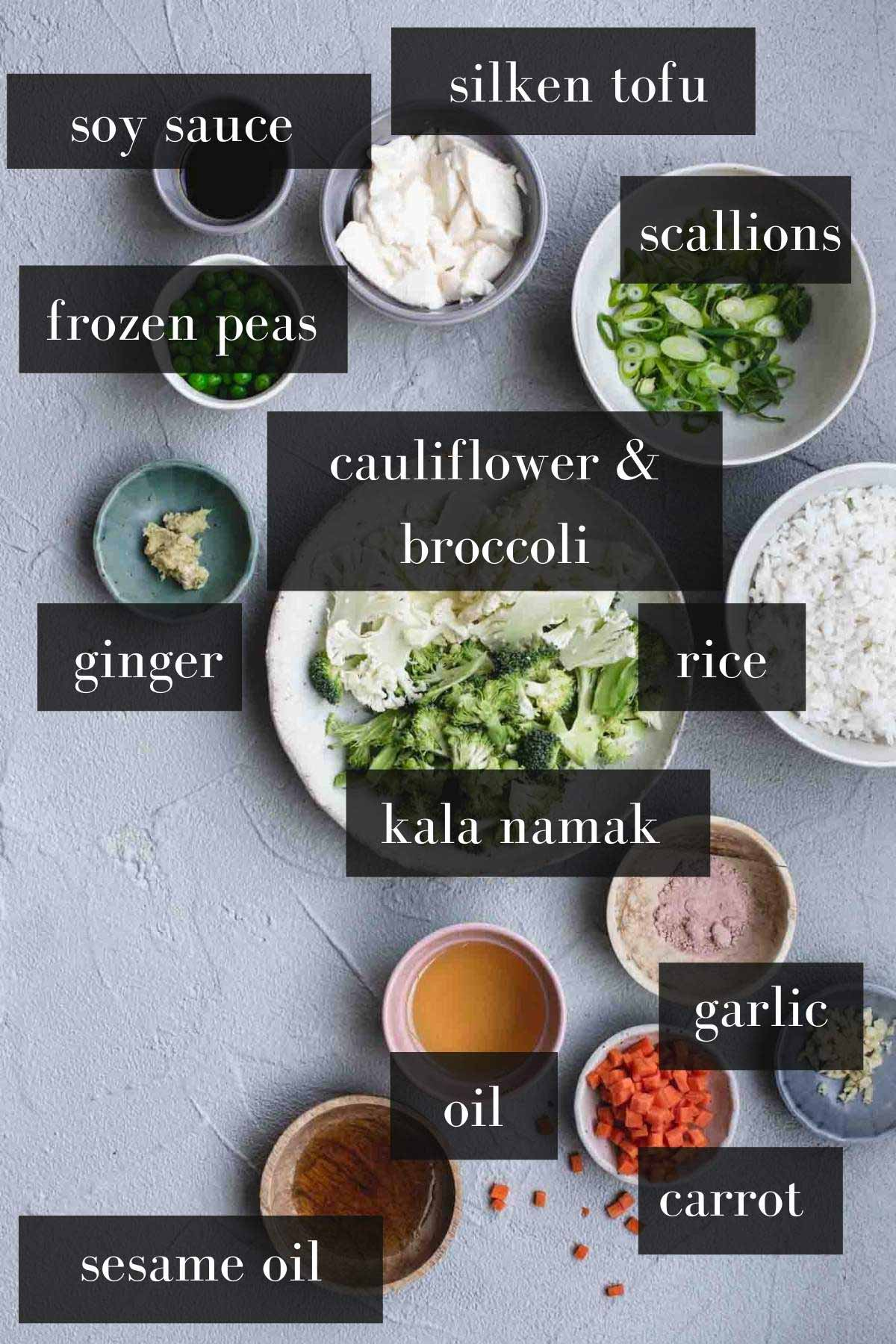 Vegan fried rice ingredients in bowls.
