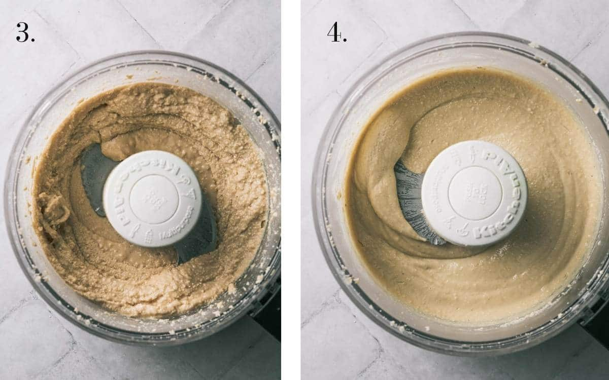 Two food images showing cashew butter being made in a processor.