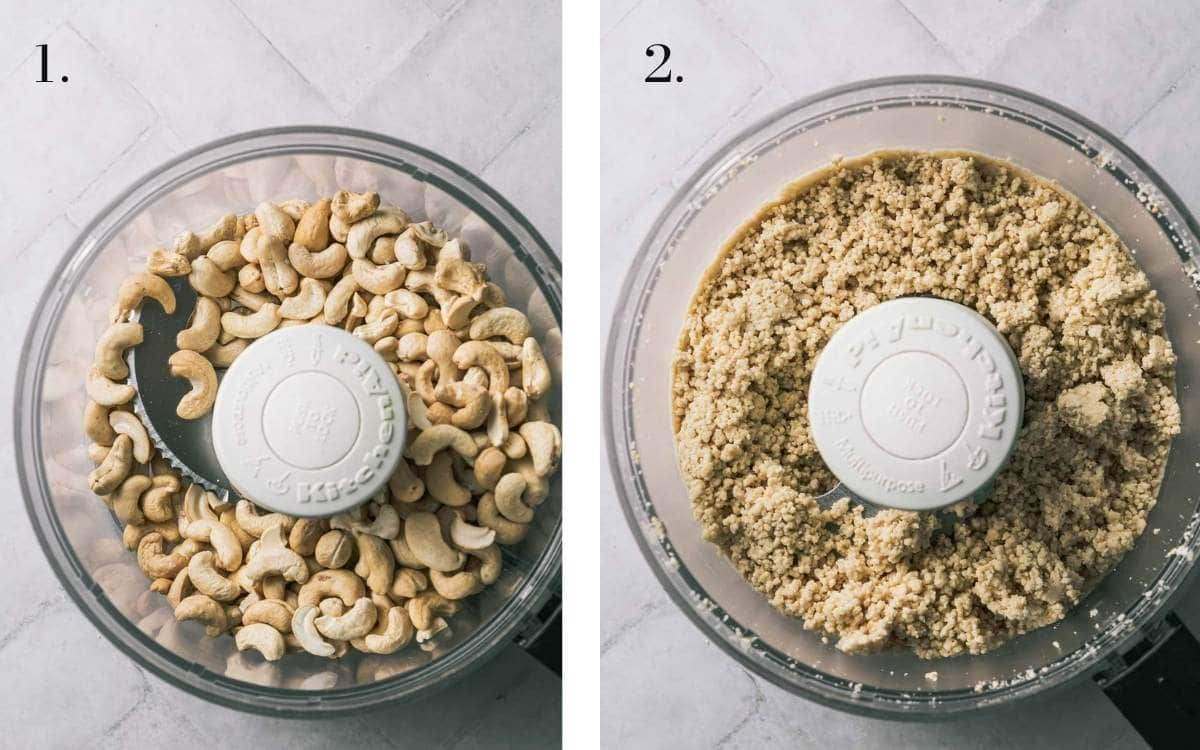 Two food images showing cashews in a processor and after processing.