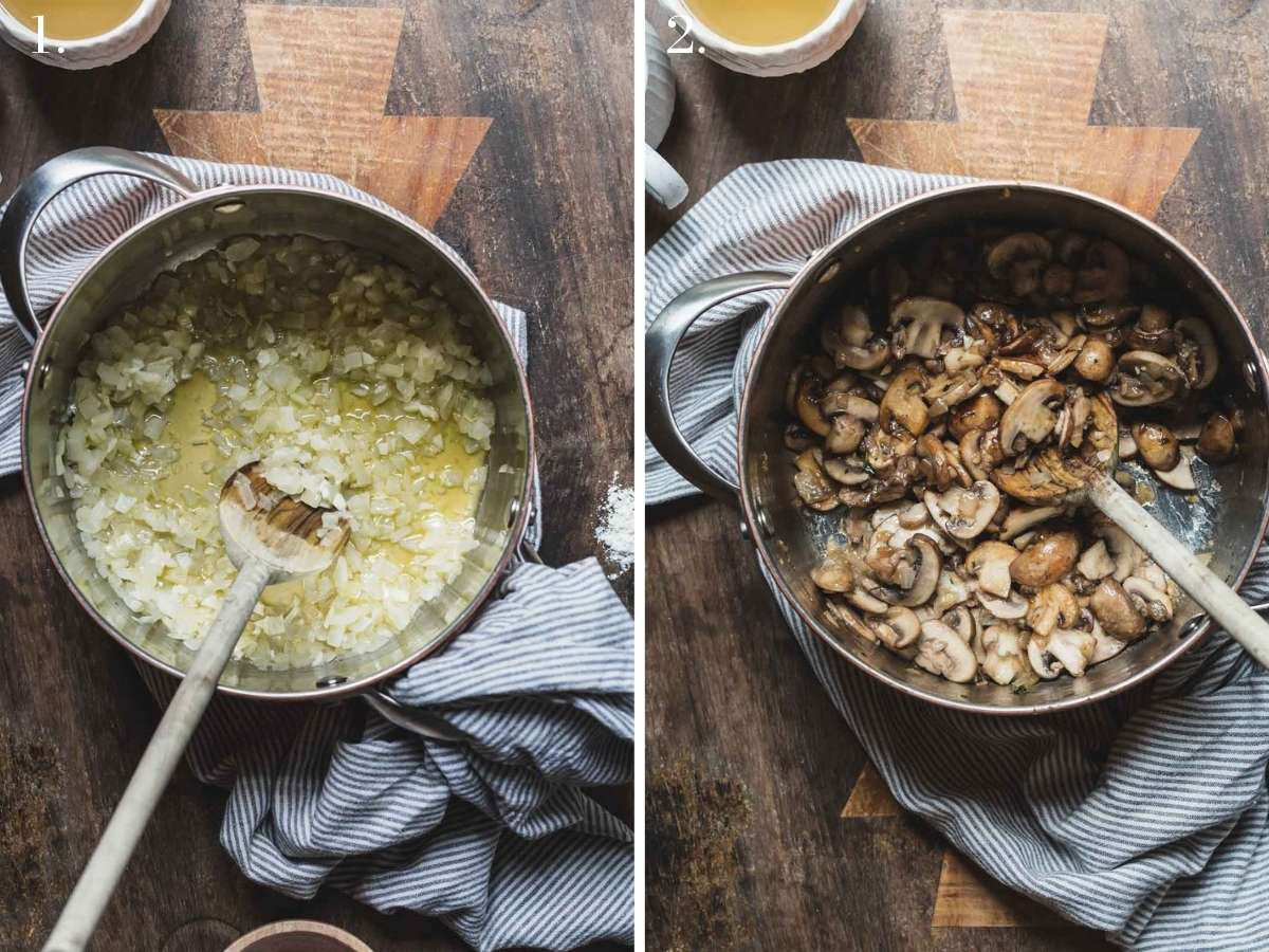 Two food images showing onions and mushroom cooking in a pot.