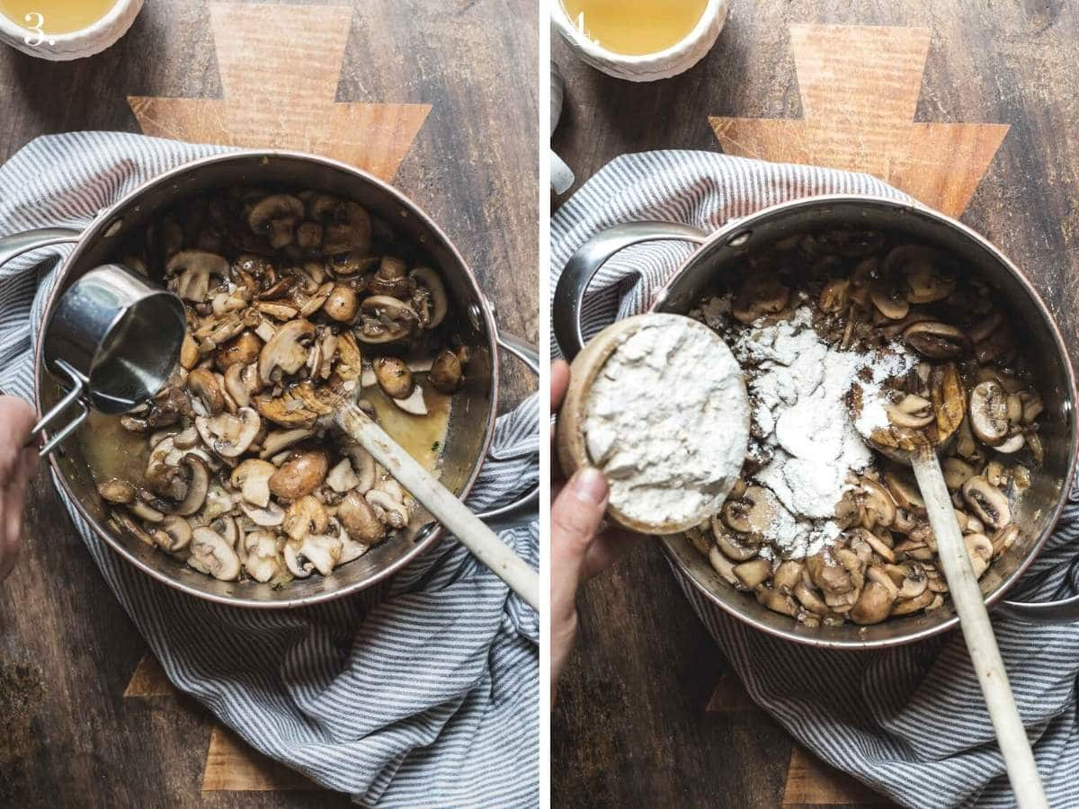Two food images showing wine and flour added to mushrooms in a pot.