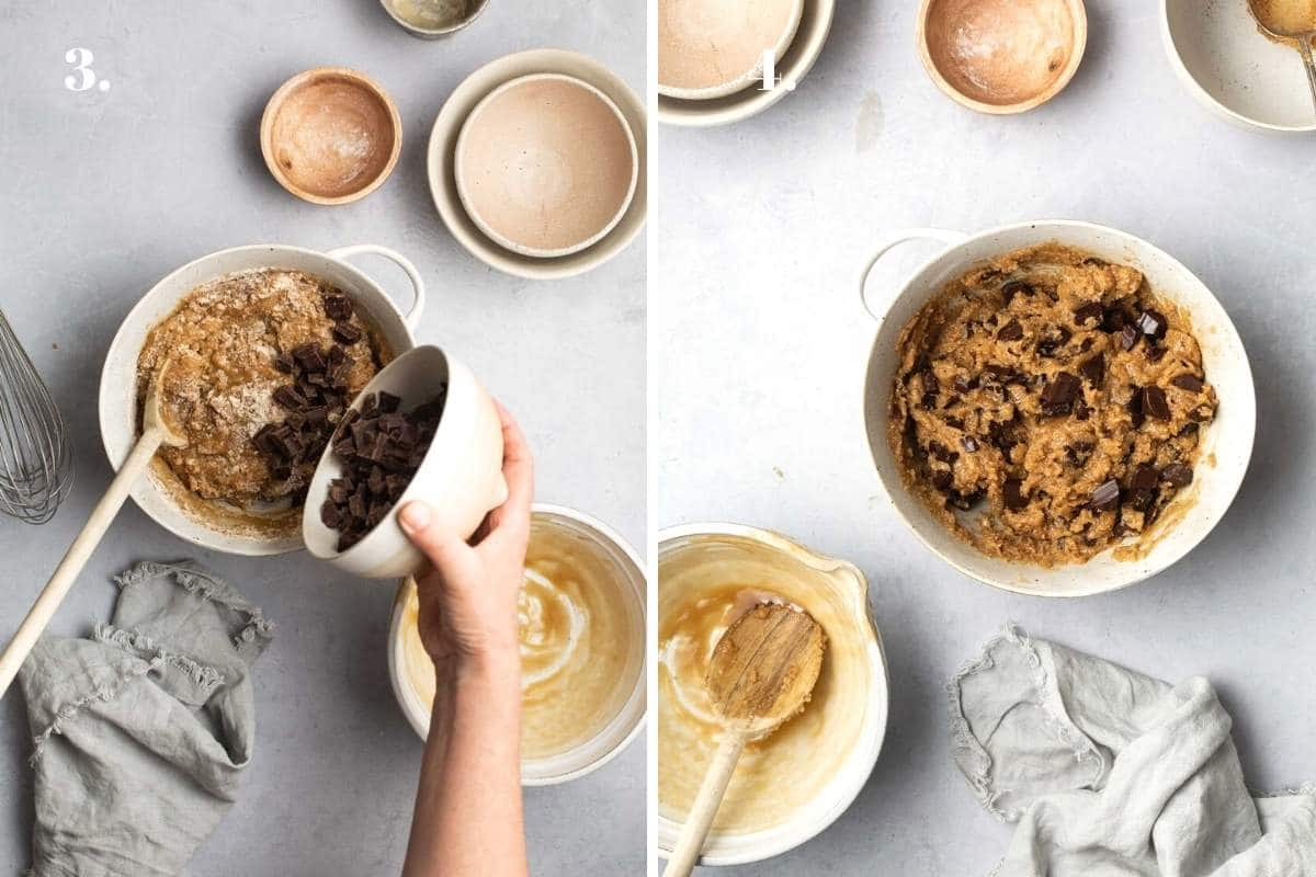 Two food images with chocolate chip cookie dough in bowls.
