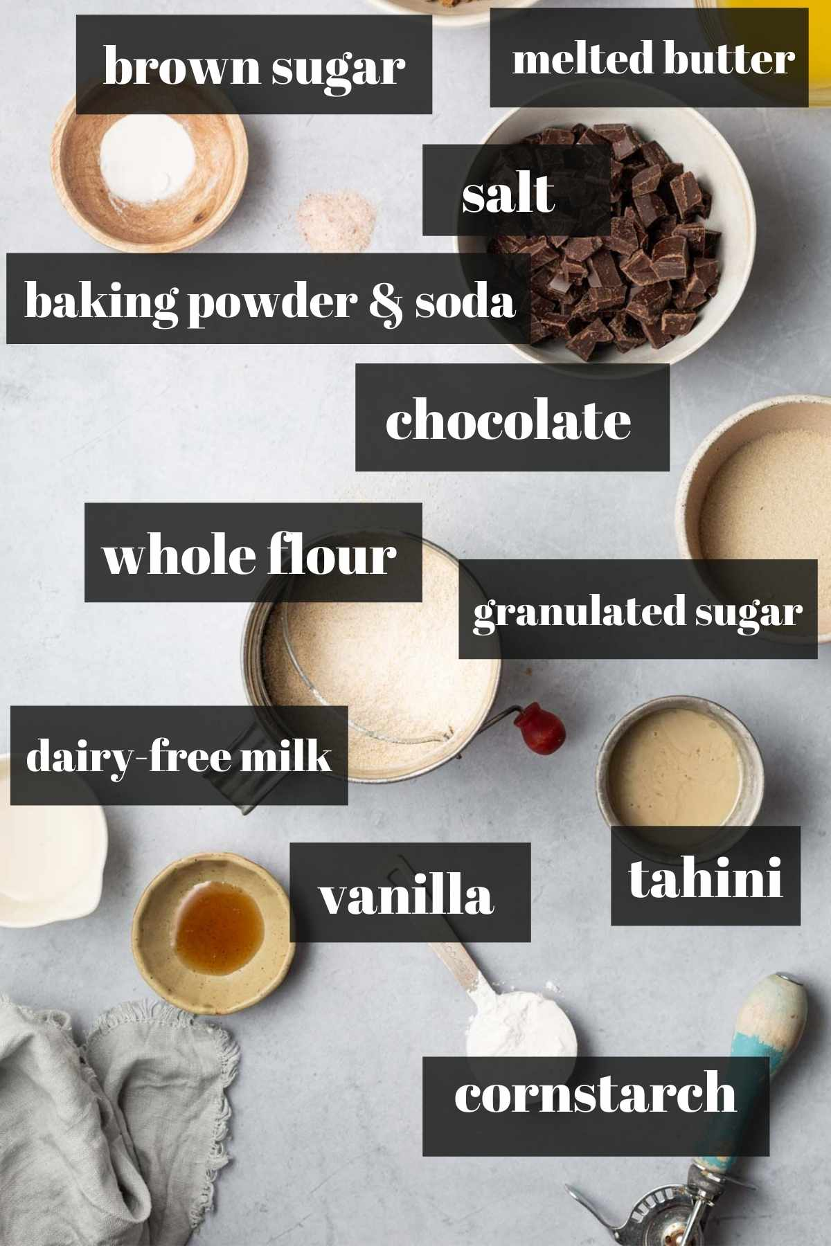 Labeled chocolate Chip cookie ingredients on a tray.