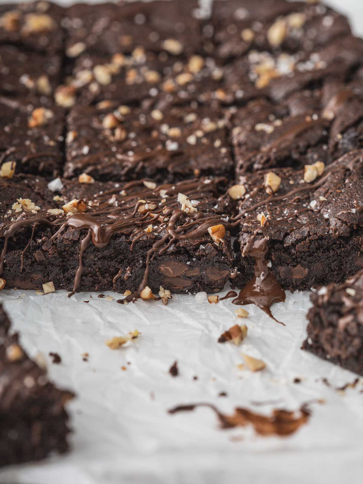 Freshly baked vegan brownies with melted chocolate.