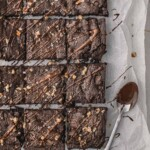 Chocolate brownies with melted chocolate.