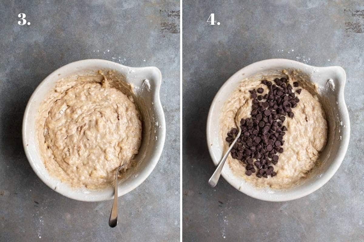 Two food images showing banana bread ingredients mixed in a bowl.