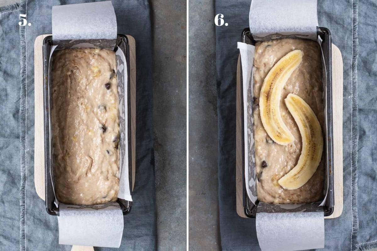 Two food images showing banana bread batter in a bread tin.