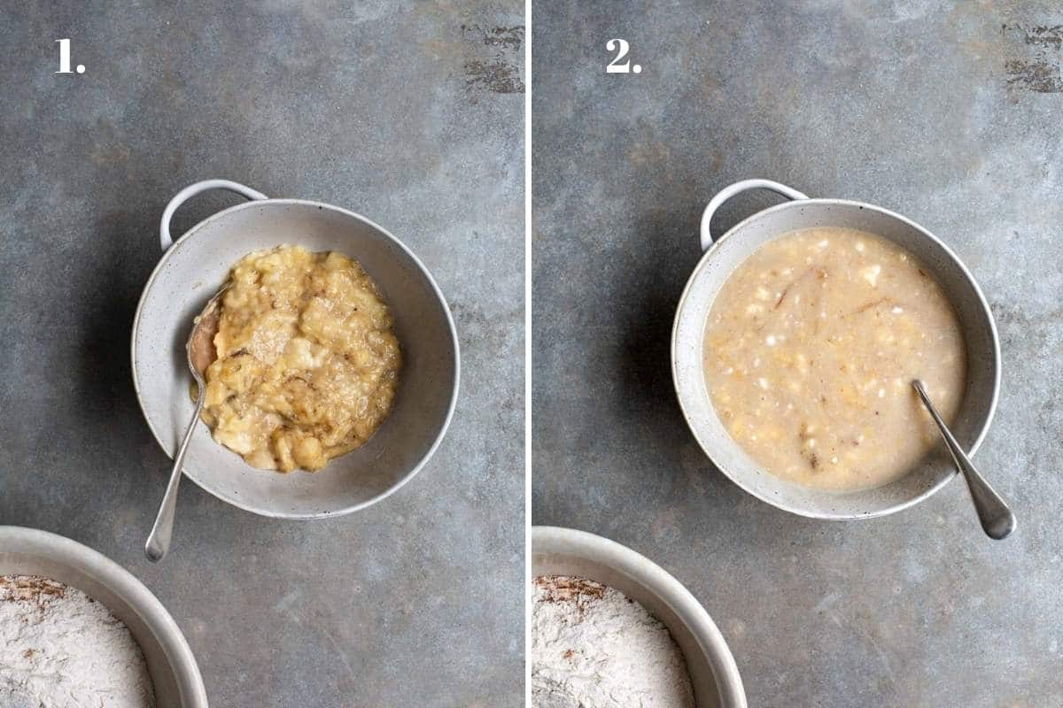 Two food images showing bananas mashed in a bowl for banana bread.