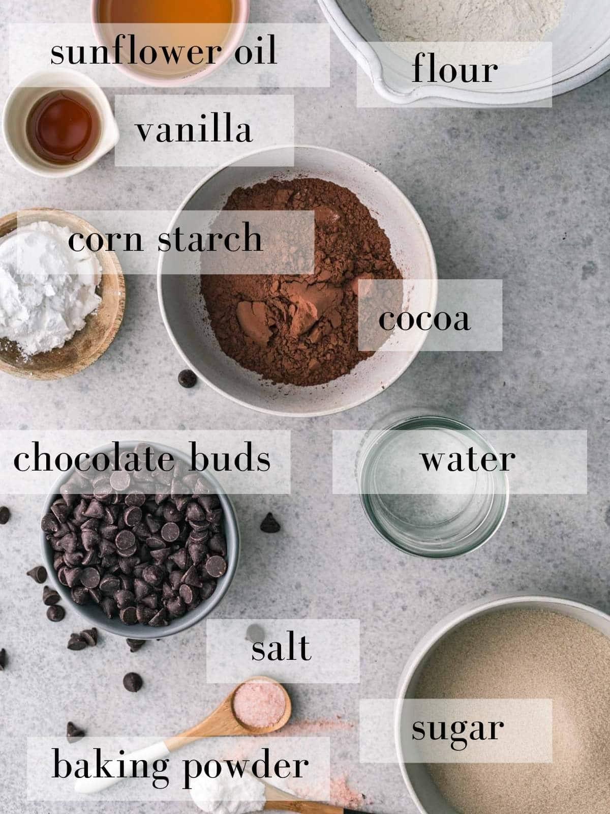 Vegan brownies ingredients in bowl on a great background.
