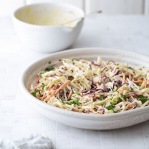 Coleslaw in a serving bowl.
