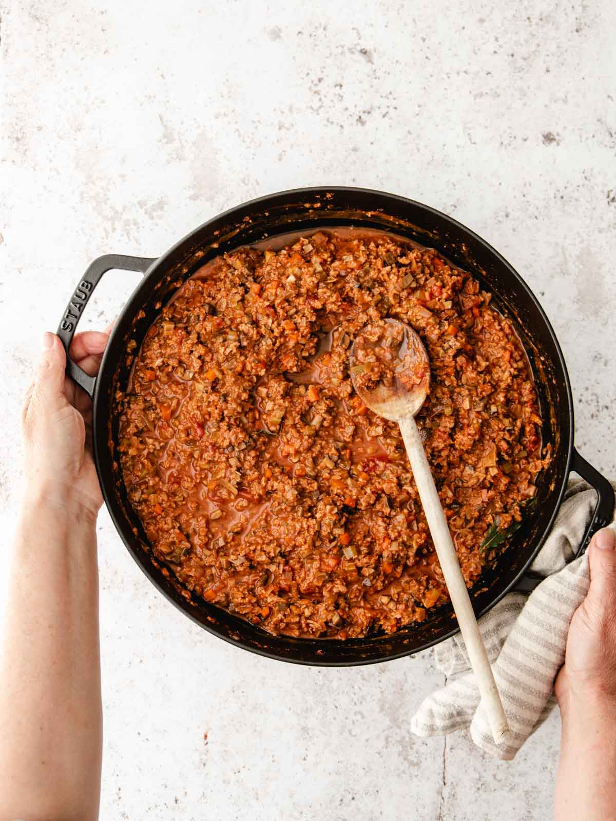 A cooked pan of vegan bolognese sauce.