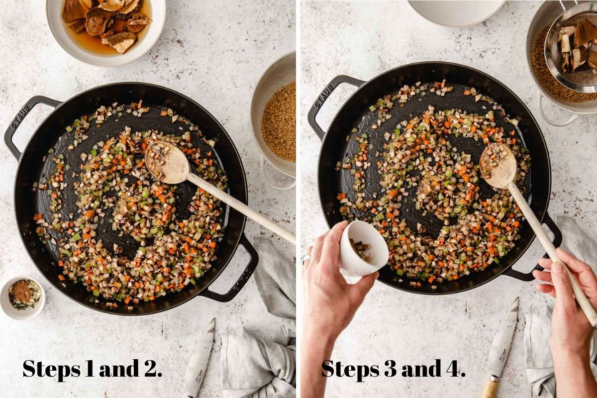 Two food images showing bolognese sauce cooking in a pot.