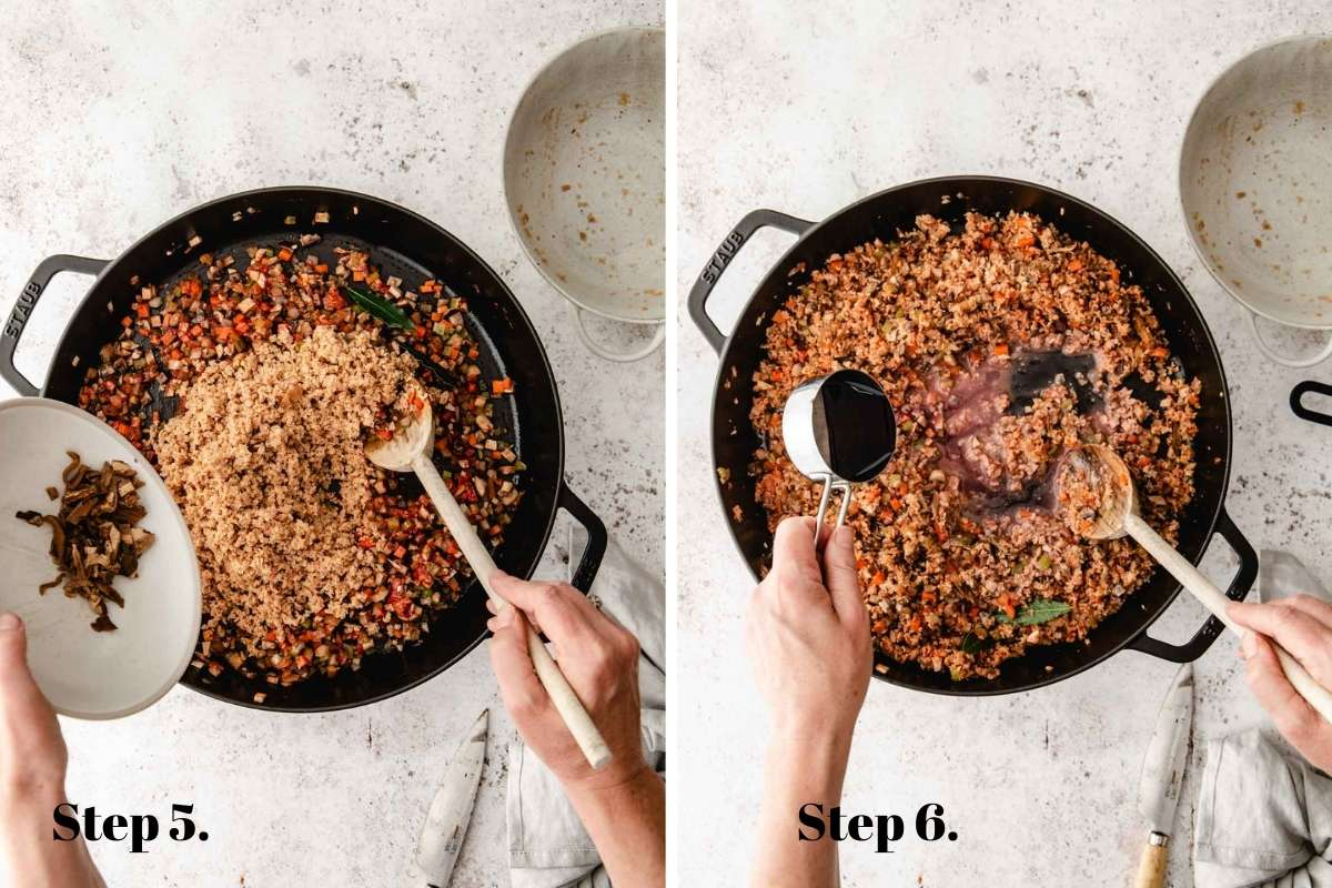 Two food images showing vegan bolognese cooking in a pan.