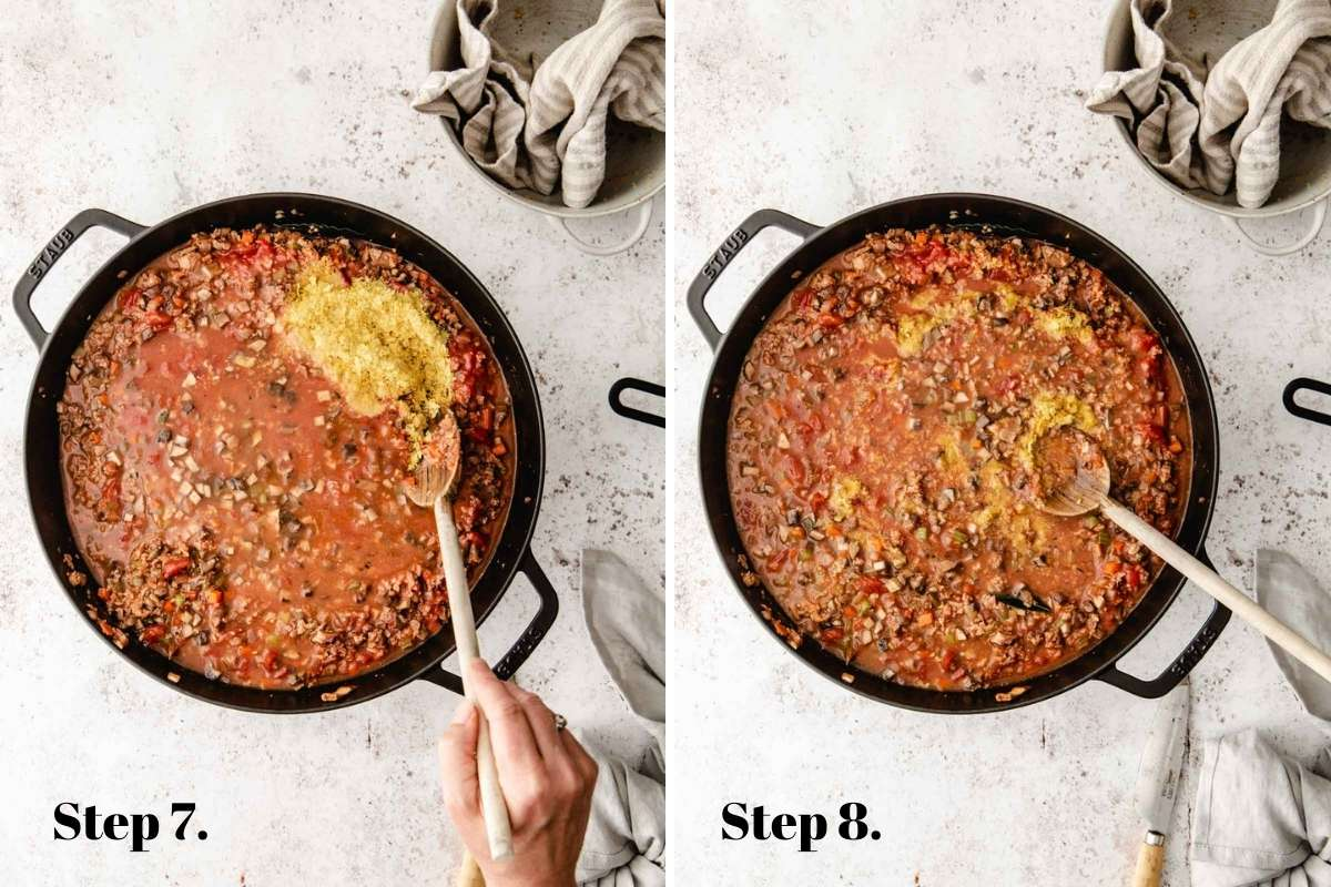 Two food images showing bolognese almost cooked.