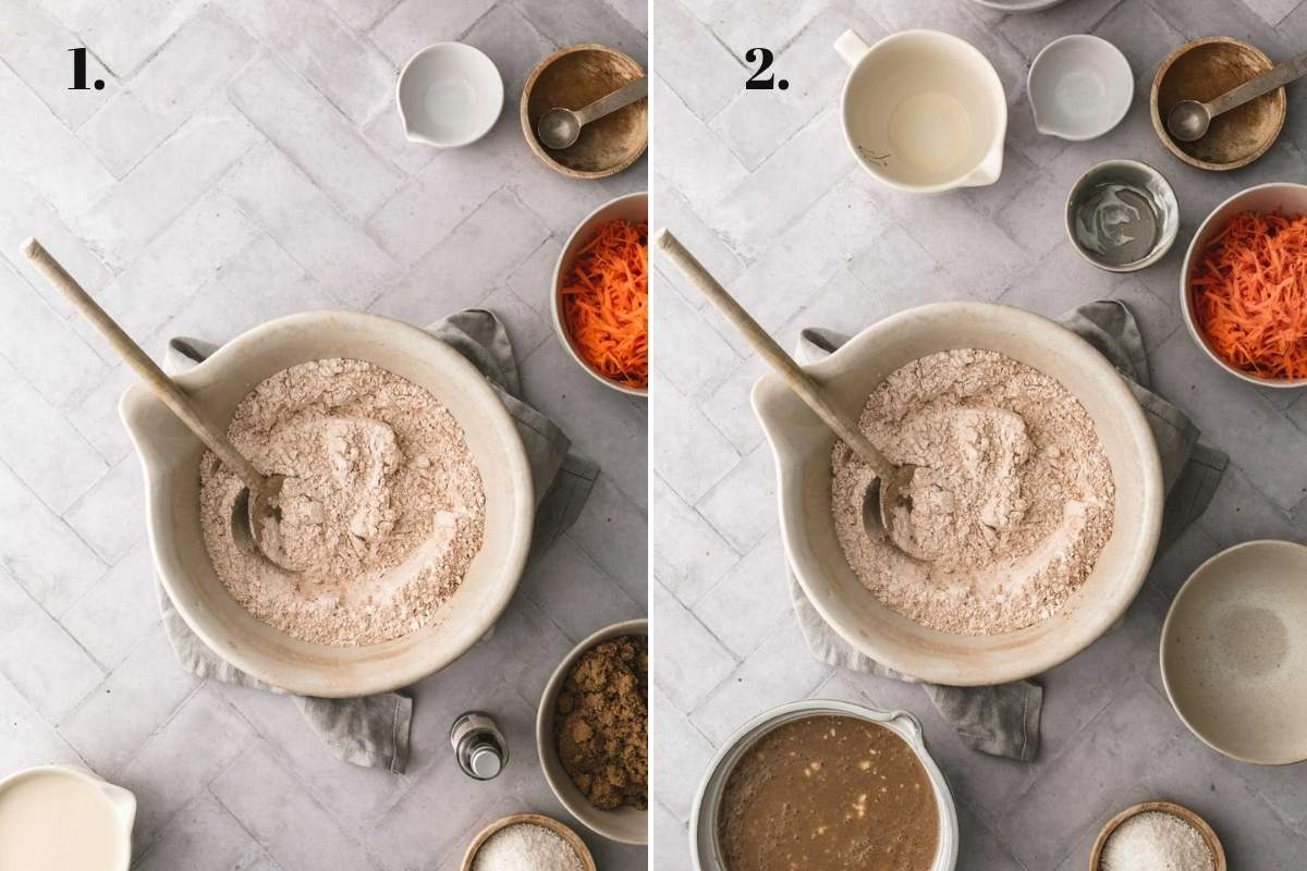 Two food images showing wet and dry carrot cake ingredients combined.