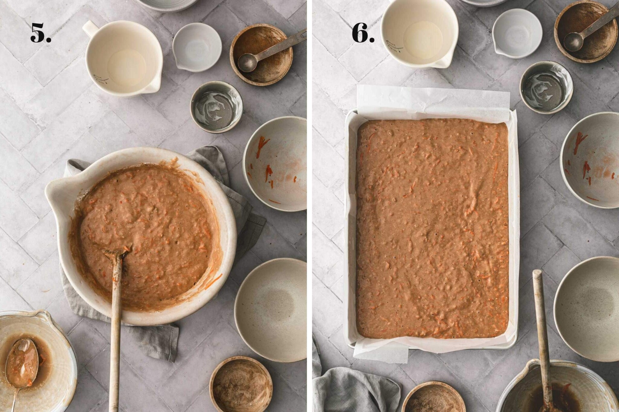 Two food images showing carrot cake completely mixed and in a baking tray.