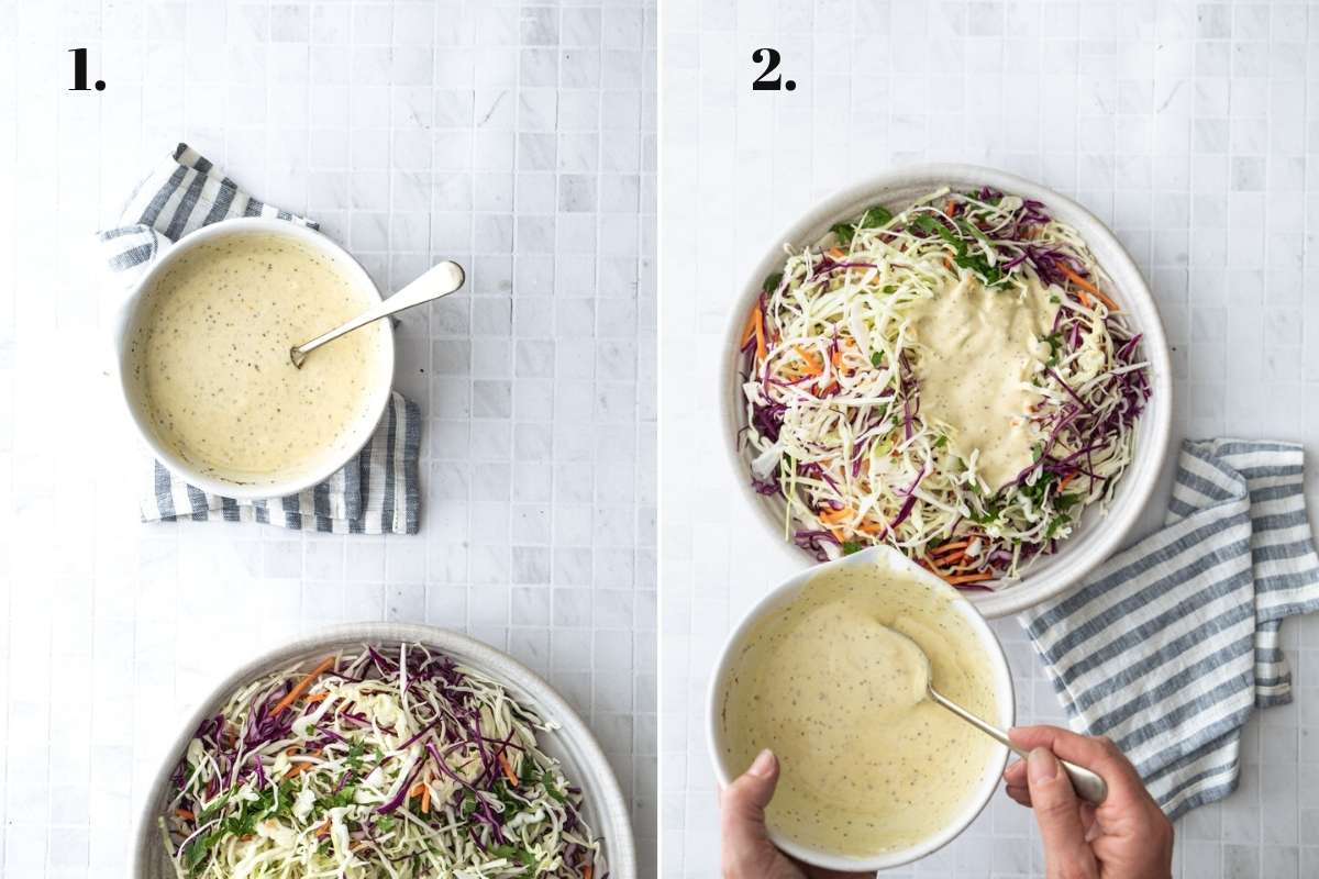 Two food images showing coleslaw being made in a large bowl.