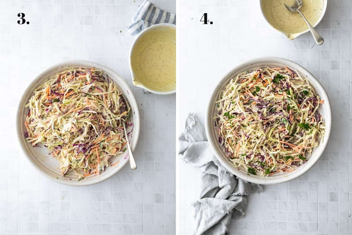 Two food images showing the mixed coleslaw.