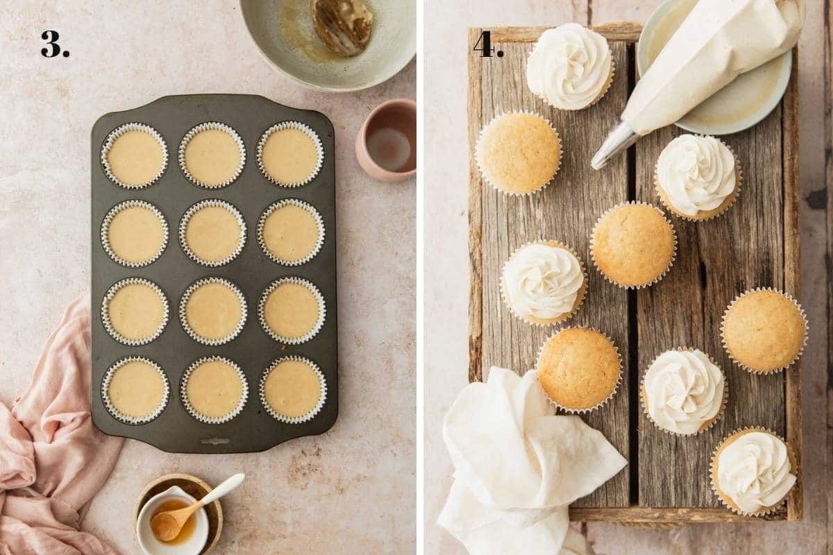 Two food images showing uncooked batter in a cupcake pan and after baking.