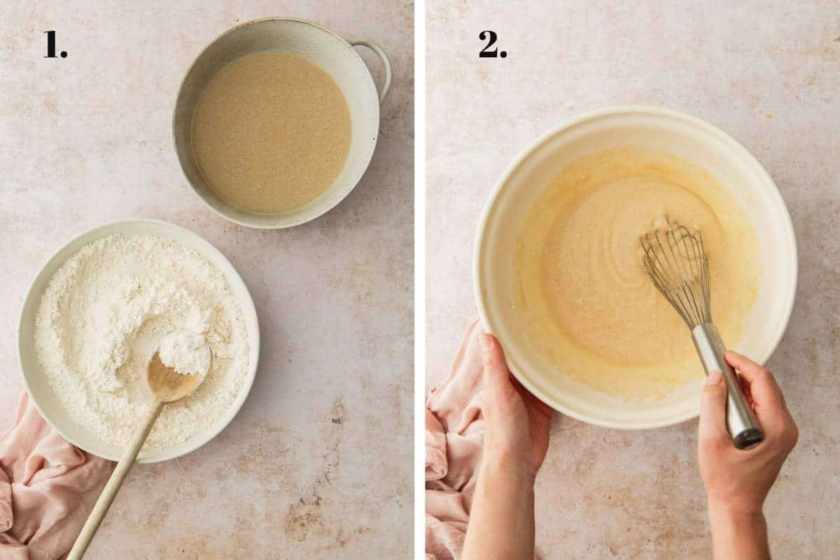 Two food images showing cupcakes ingredients added and the combined in bowls.