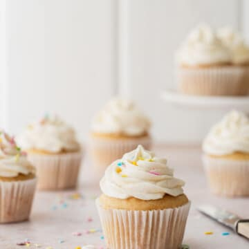Frosted vanilla cupcakes with sprinkles.