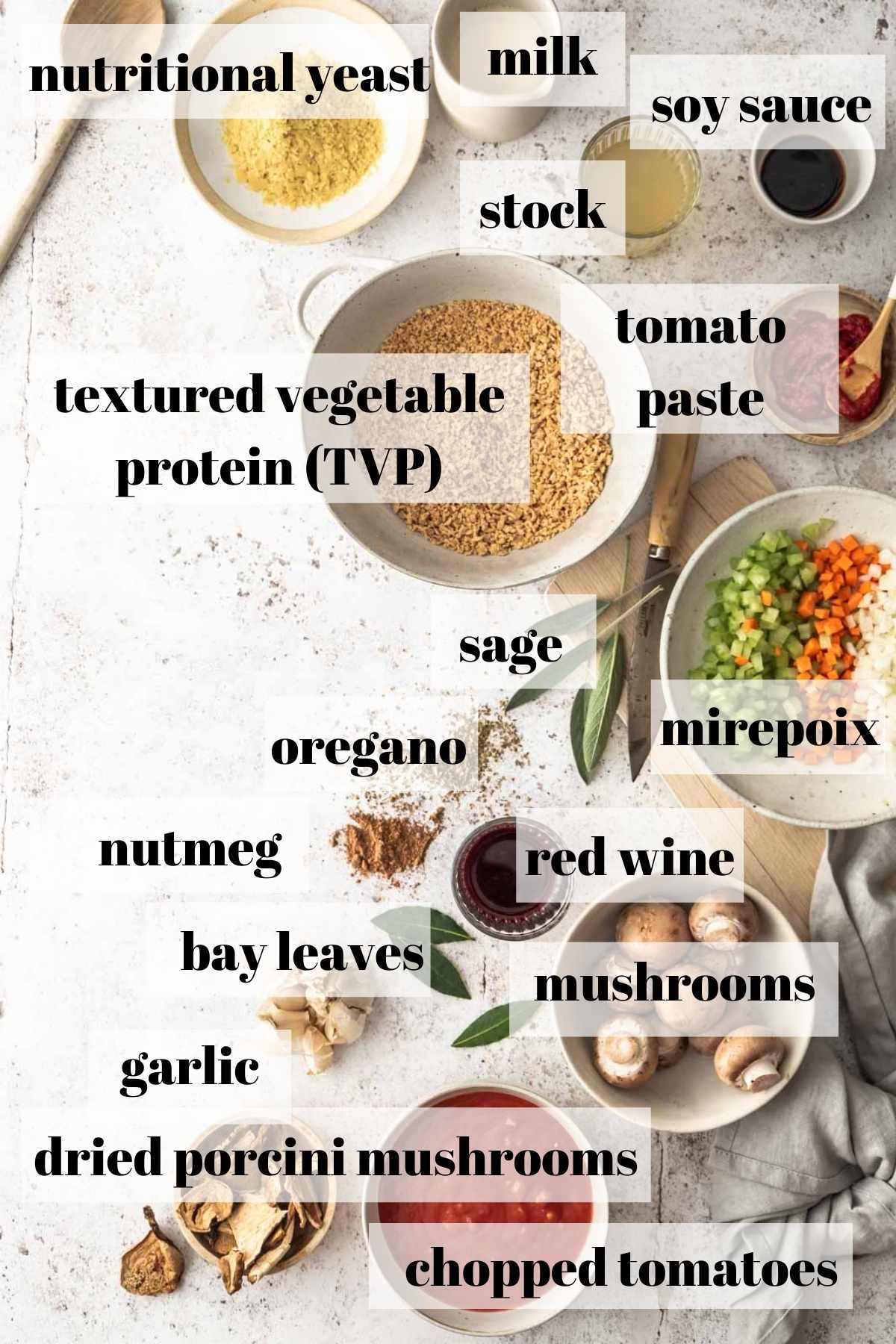 Labelled vegan bolognese sauce ingredients on a white background.