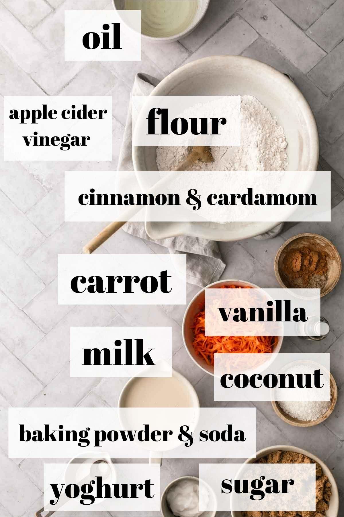 Carrot cake ingredients in bowls.