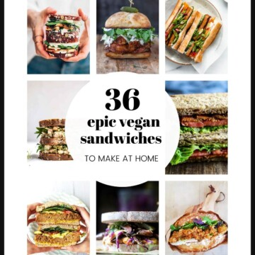 A grid of images with vegan sandwiches.