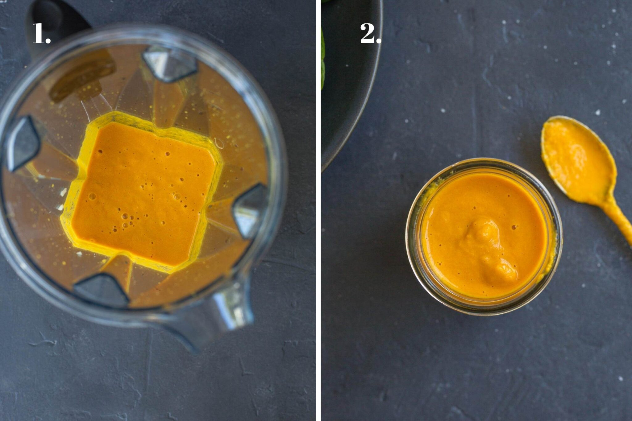 Two food images showing salad dressing made in a blender.