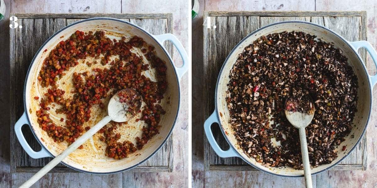Two images showing mushrooms and beans cooking in a pot.