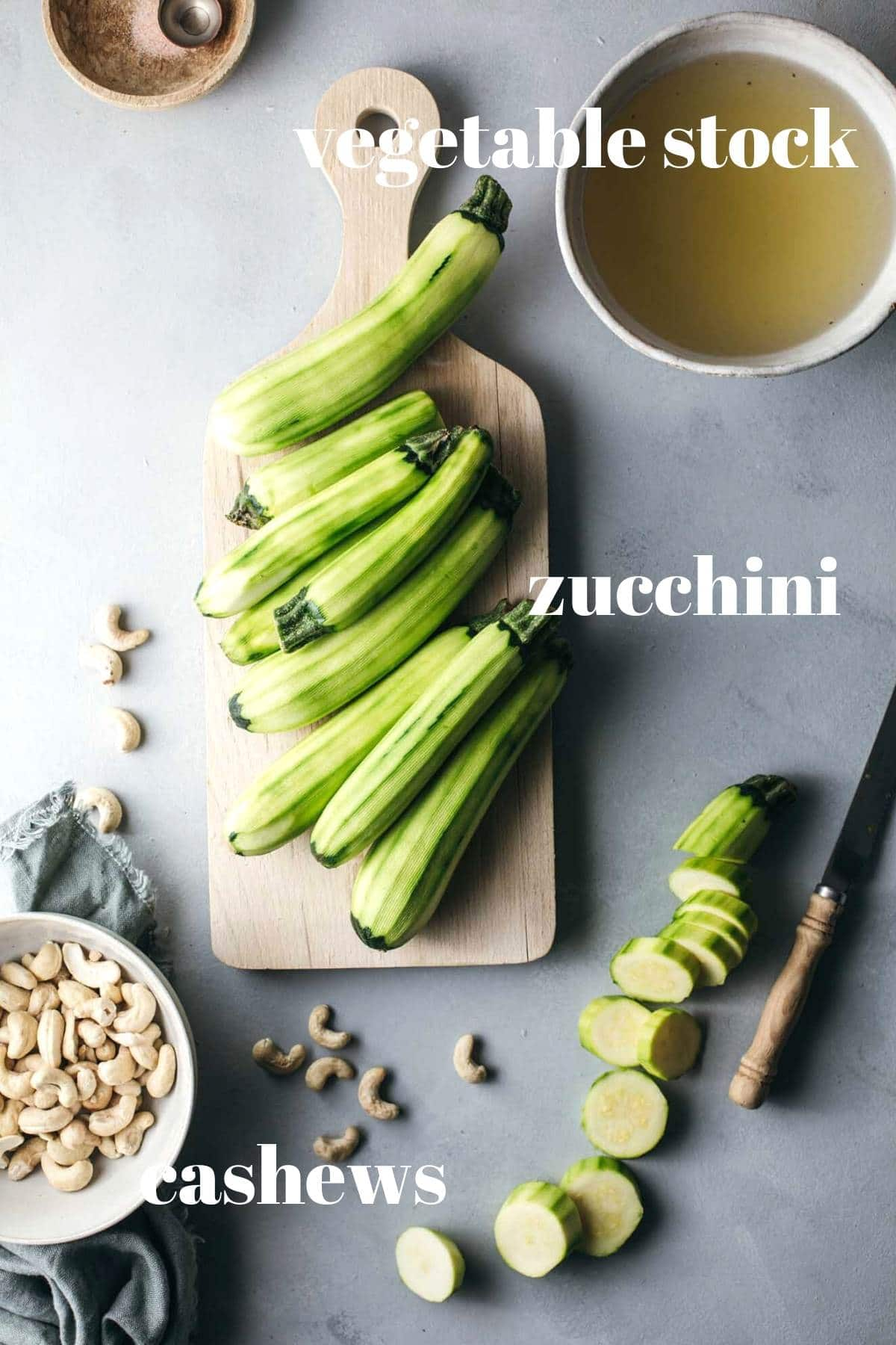Zucchini soup ingredients on a kitchen bench.