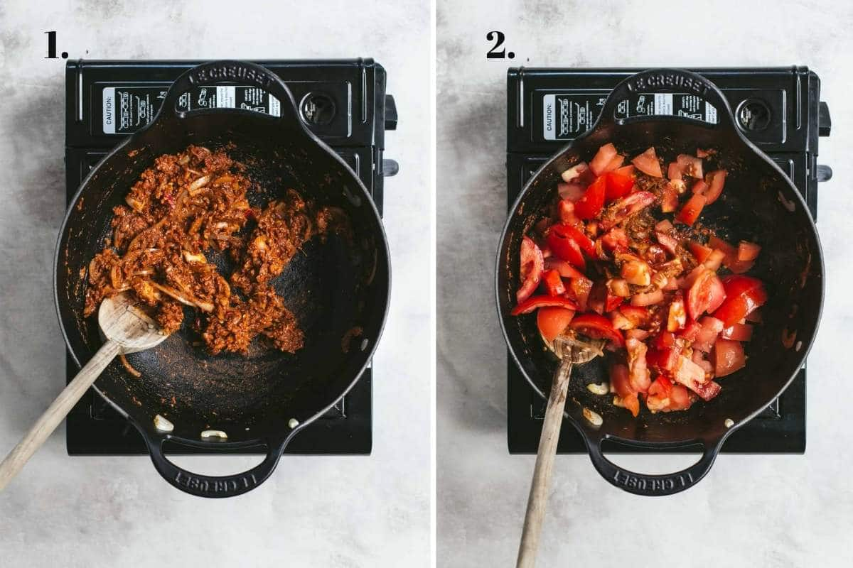 Two food images showing curry paste and tomatoes cooking.