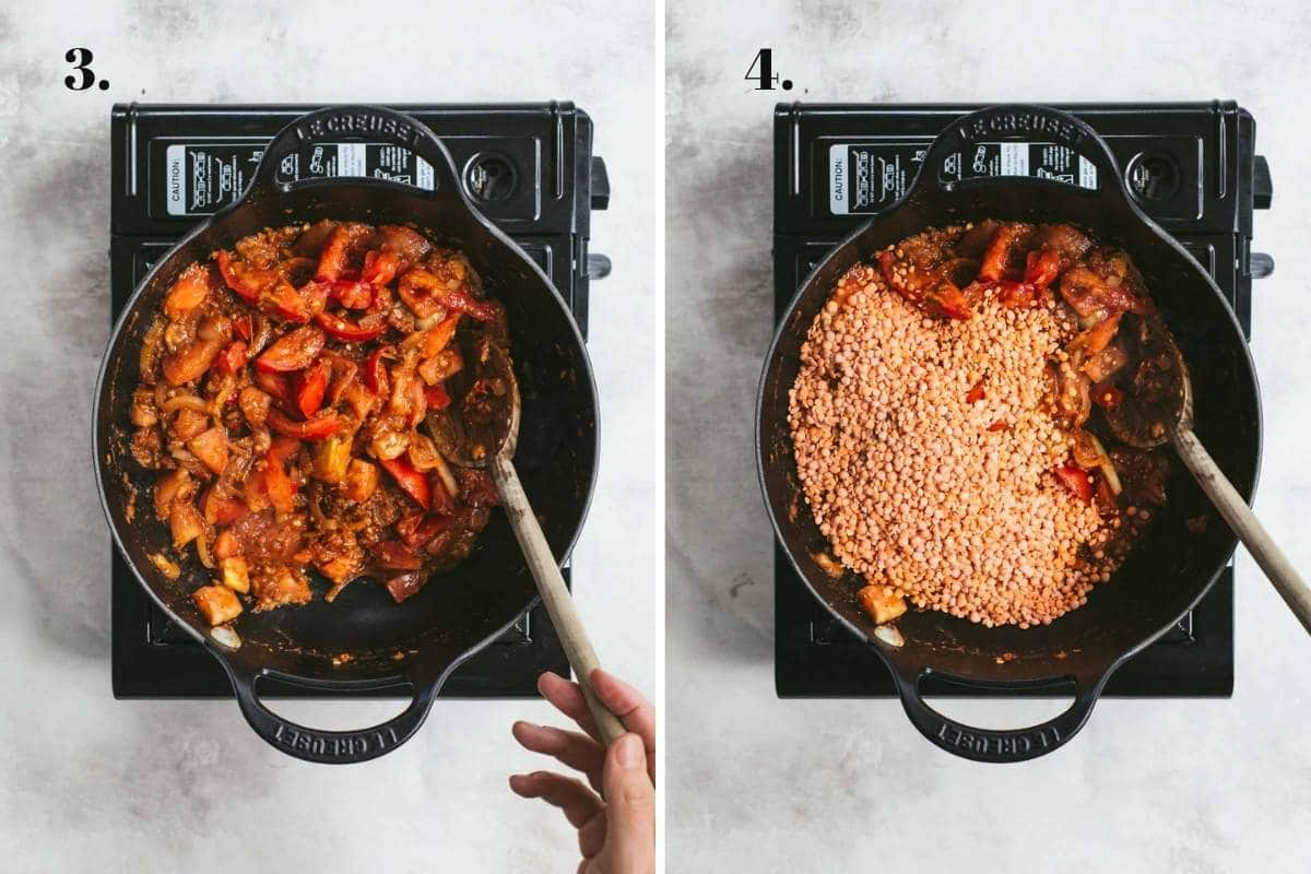 Two food images showing tomatoes cooking and lentils being added.