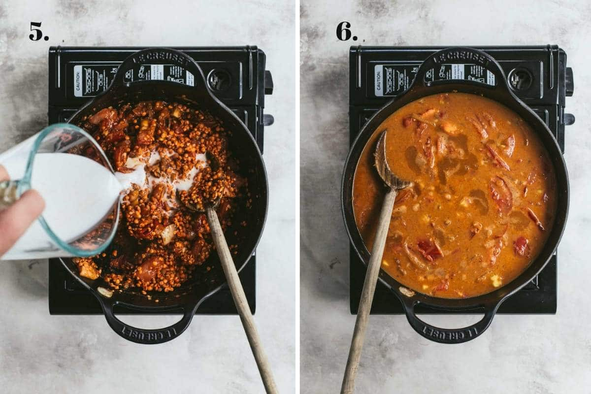 Two food images showing coconut milk added to a lentil curry.