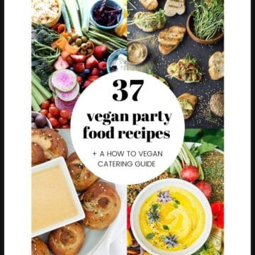 A grid of party food images with text.