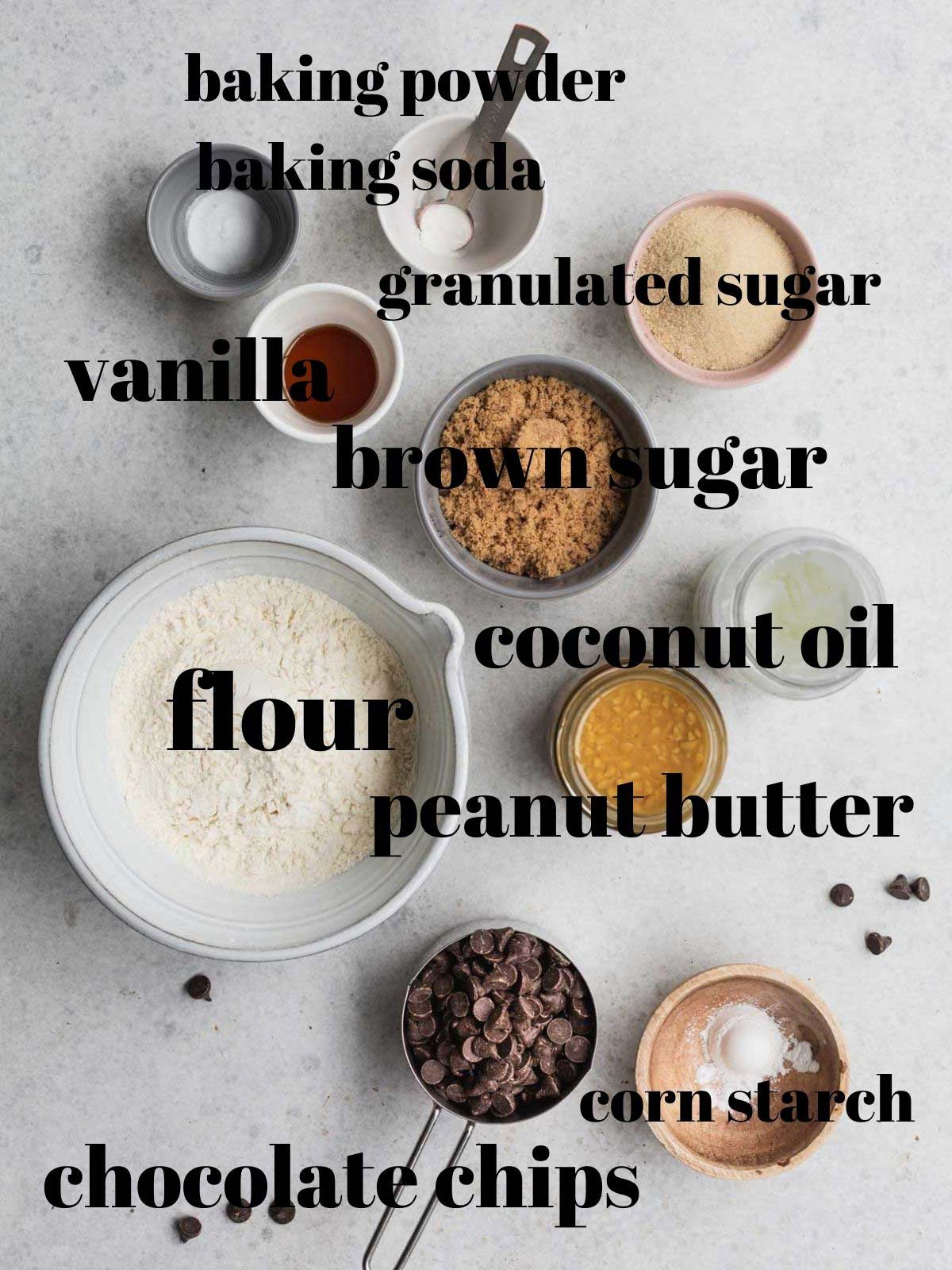 Peanut Butter cookie ingredients with labels.
