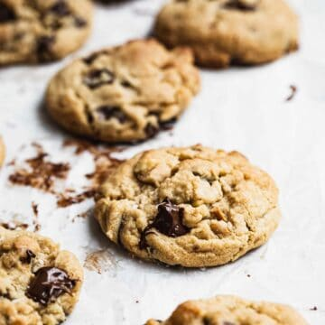 A close up image of chocolate chip cookies.