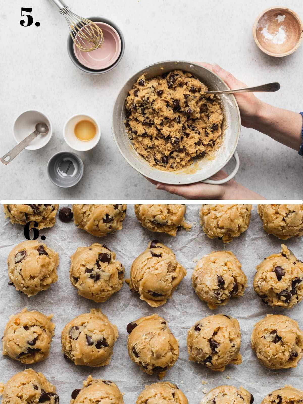 Two images with cookie dough in a bowl and rolled into balls.